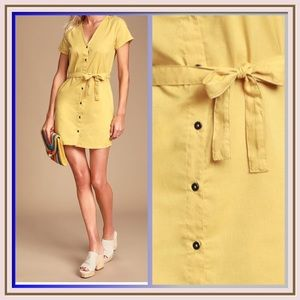 Landed  Mustard Yellow Button Front Mini Dress